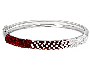 Red And White Crystal Rhodium Over Brass Bracelet