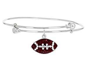 Red And White Crystal Rhodium Over Brass Football Dangle Bracelet