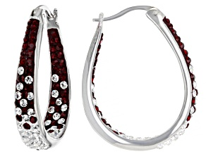 Red And White Crystal Rhodium Over Brass Hoop Earrings