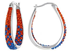 Blue And Orange Crystal Rhodium Over Brass Hoop Earrings