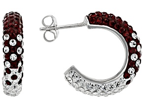 Red And White Crystal Rhodium Over Brass Earrings