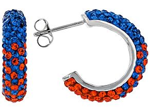 Blue And Orange Crystal Rhodium Over Brass Earrings