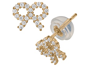 Childrens  14k Yellow Gold Cubic Zirconia Bow Stud Earrings