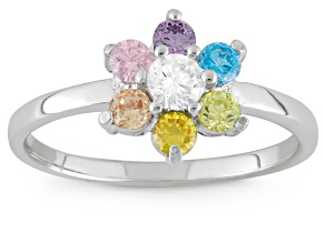Childrens  Sterling Silver Multi Color Cubic Zirconia Flower Ring