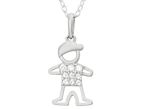 Childrens  Sterling Silver Little Boy Cubic Zirconia Pendant With Chain
