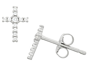 Childrens  Sterling Silver Cubic Zirconia Cross Earrings