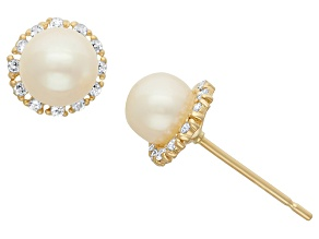 Childrens  14k Yellow Gold Cultured Freshwater Pearl And Cubic Zirconia Earrings