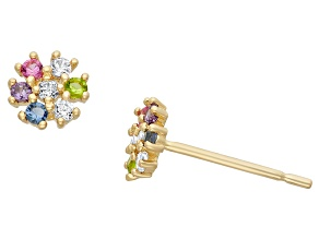 Childrens  14k Yellow Gold Multi Color Cubic Zirconia Stud Earrings