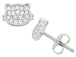 Childrens  Sterling Silver Pave  Kitty Cat Earrings