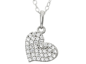 Childrens  Sterling Silver Cubic Zirconia Heart Pendant With Chain