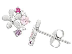 Childrens  Sterling Silver Fashion Cubic Zirconia Flower Earrings