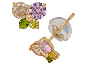 Childrens 14k Yellow Gold Multi Color Cubic Zirconia Butterfly Earrings
