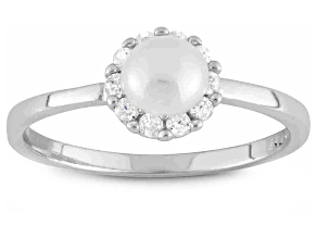 Childrens  Sterling Silver Cultured Freshwater Pearl Halo Cubic Zirconia Ring