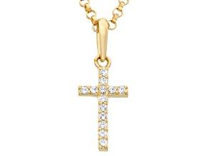 Childrens  14k Yellow Gold Cubic Zirconia Designer Cross Pendant With Chain