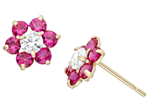Childrens  14k Yellow Gold Red Cubic Zirconia Flower Earrings
