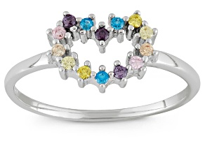Childrens  Sterling Silver Multi Color Cubic Zirconia Heart Ring