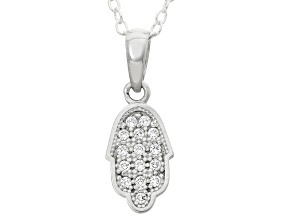 Childrens  Sterling Silver Cubic Zirconia Hamsa Hand Pendant With Chain