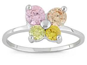 Childrens  Sterling Silver Multi Color Cubic Zirconia Butterfly Ring