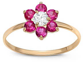 Childrens  10k Yellow Gold Red Cubic Zirconia Flower Ring