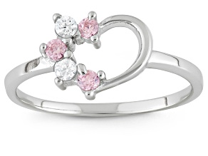 Childrens  Sterling Silver Pink And White Cubic Zirconia Heart Ring