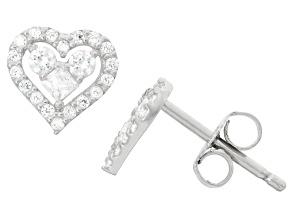 Childrens  Sterling Silver Fashion Cubic Zirconia Heart Earrings