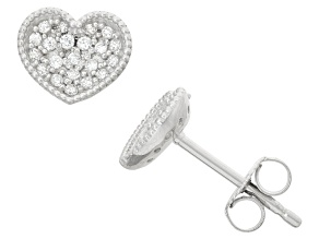 Childrens  Sterling Silver Cubic Zirconia Heart Earrings