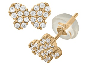 Childrens  14k Yellow Gold Pave Cubic Zirconia Butterfly Stud Earrings