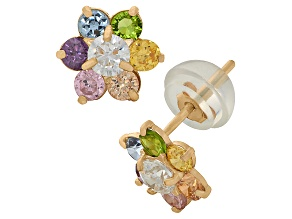 Childrens  14k Yellow Multi Color Cubic Zirconia Flower Earrings