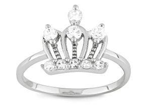 Childrens  Sterling Silver Cubic Zirconia Royal Crown Ring