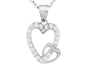 Childrens Rhodium Over Sterling Silver White Diamond Simulant Double Heart Pendant With Chain