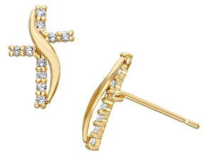 Childrens  14k Yellow Gold Gold Cubic Zirconia Designer Cross Earrings