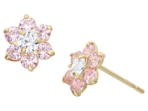 Childrens  14k Yellow Gold Pink Cubic Zirconia Flower Earrings