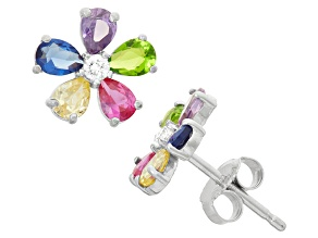 Childrens  Sterling Silver Multi Color Flower Cubic Zirconia Earrings