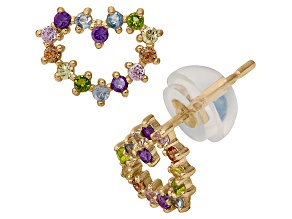 Childrens  14k Yellow Gold Multi Color Cubic Zirconia Heart Earrings