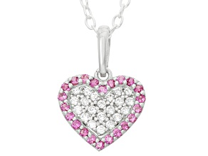 Childrens  Sterling Silver Pink And White Cubic Zirconia Heart Pendant With Chain