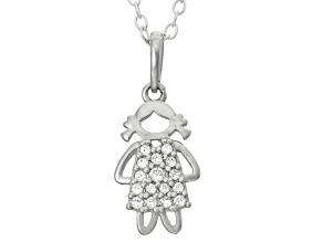 Childrens  Sterling Silver Little Girl Cubic Zirconia Pendant With Chain