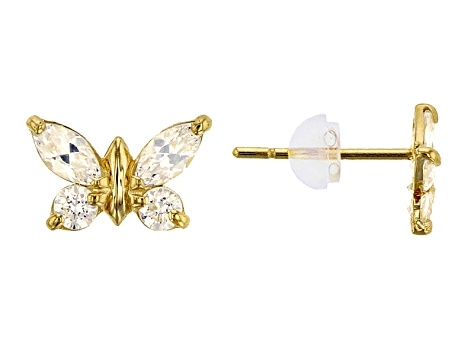 Bella Luce® .84ctw Marquise Shape 14k Gold Butterfly Earrings