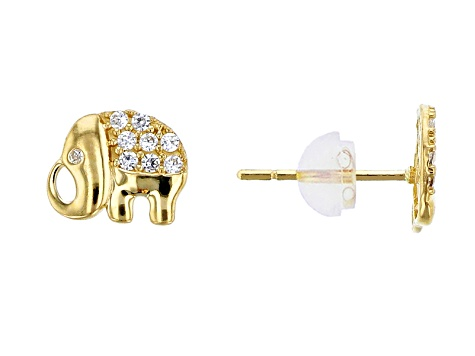 Bella Luce 16ctw Round White Cubic Zirconia 14k Gold Elephant Earrings