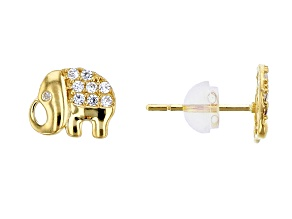 Bella Luce® .16ctw Round White Cubic Zirconia 14k Gold Elephant Earrings