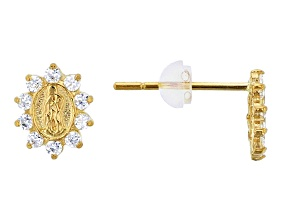 Bella Luce® .20ctw Round White Cubic Zirconia 14k Yellow Gold Earrings