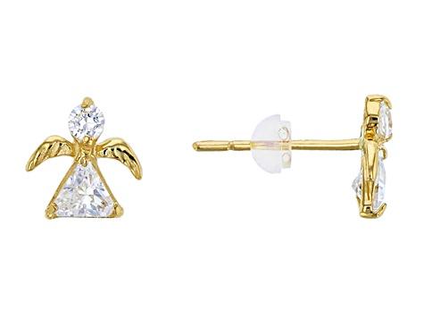 Bella Luce 54ctw Trillion 14k Gold Angel Earrings