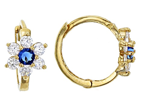 Bella Luce® .61ctw Round Blue Cubic Zircnia 14k Yellow Gold Flower Earrings