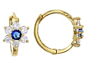 Bella Luce® .61ctw Round Blue Cubic Zircnia 14k Yellow Gold Flower Earrings