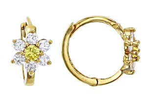 Bella Luce® .61ctw Round Yellow Cubic Zirconia 14k Yellow Gold Flower Earrings