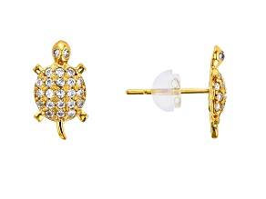 Bella Luce® .41ctw Round White Cubic Zirconia 14k Yellow Gold Turtle Earrings