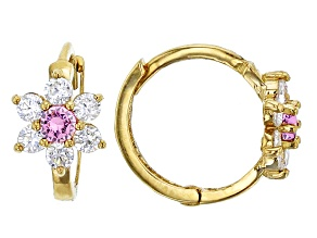 Bella Luce® .61ctw Round Pink Cubic Zirconia 14k Yellow Gold Flower Earrings