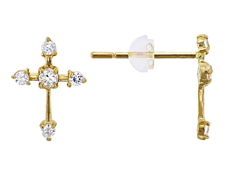 Bella Luce® .24ctw Round White Cubic Zirconia 14k Yellow Gold Cross Earrings