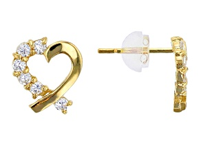 Bella Luce® .28ctw Round White Cubic Zirconia 14k Yellow Gold Heart Earrings