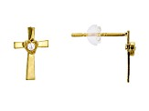 Bella Luce® .04ctw Round White Cubic Zirconia 14k Yellow Gold Cross Earrings