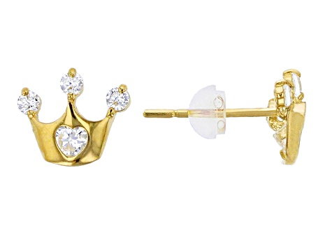 Bella Luce® .24ctw Round White Cubic Zirconia 14k Yellow Gold Crown Earrings